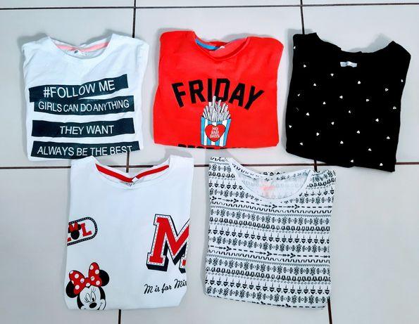 Bluzeczki dla dziewczynki 146/152 zestaw 7 sztuk