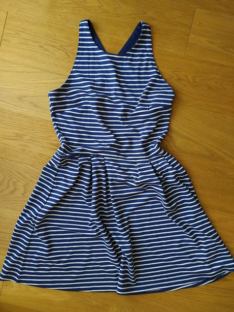 Sukienka w biało-granatowe paski. Sinsay, XL.