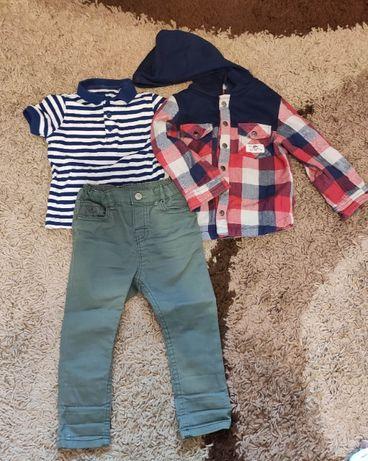 Zestaw spodnie + koszulka polo + bluza, r. 86