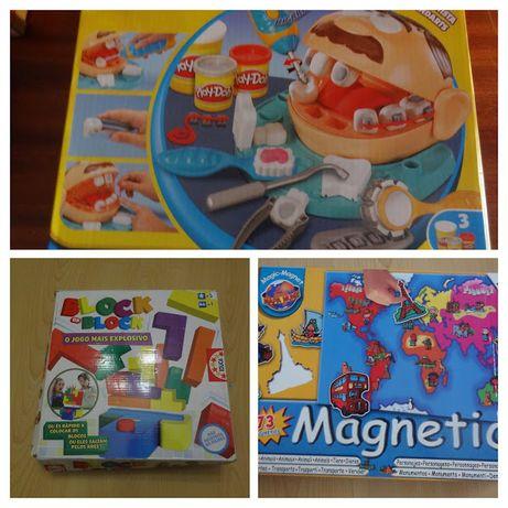 Play-Doh plasticina Dentista, Blocos tetris da marca Educa, Mapa mundo