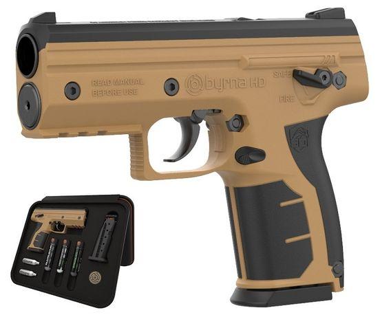 Pistolet pneumatyczny BYRNA HD brąz k.68 CO2 8g zestaw