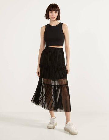 Czarna spódnica długa Bershka S tiul