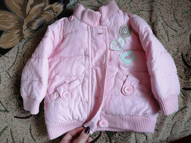 Весенняя Куртка девочке 6-9 месяцев, рост 74