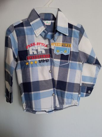 Koszula chłopięca 86 kratka długi rękaw
