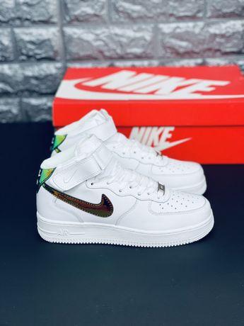 Кожаные кроссовки Nike Air Force 2 White Хамелион Найк Форс кожа