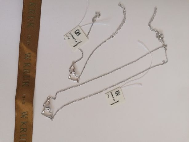 Zestaw srebrny - naszynik i bransoletka z serduszkamj