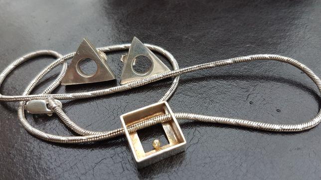 ZESTAW Łańcuszek i kolczyki srebro 925 trójkąty i kwadrat Włochy Italy