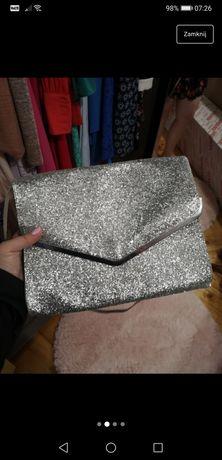 Srebrna brokatowa kopertówka H&M