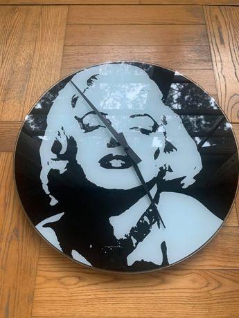 Duży zegar ścienny - szkło - Marylin Monroe