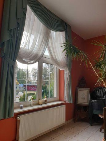 Zasłony 4 komplety na 4 duże okna ozdobne kolor jasny zielony