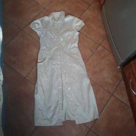 Sukienka rozpinana beżowa na 165 cm wzrostu