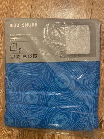 Komplet pościeli bibbi snurr ikea niebieska turkusowa 200x220 220x200