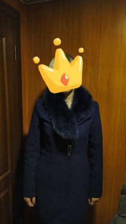 Пальто кашемір синє