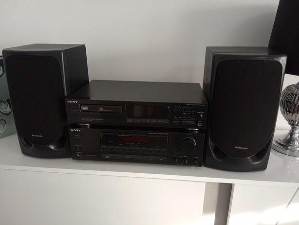 Wieża  amplituner CD i kolumny