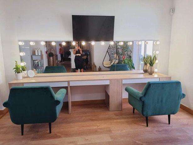 Espelhos de maquilhagem iluminado camarim cabeleireira