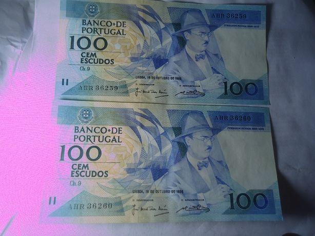 Notas Raras 100 escudos (Números série Seguidos)