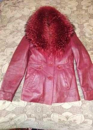2 в 1! зимняя и демисезонная куртка с натуральним мехом ель