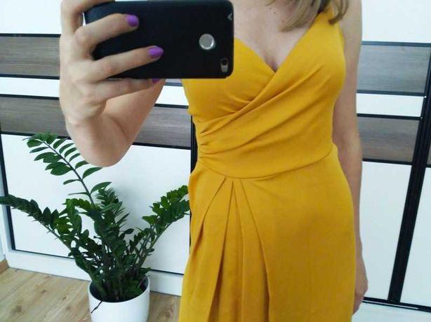 Sukienka maxi na ramiączkach kolor żółty/mango 36 S Zara Asos Inubia