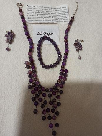 Набор из натуральных камней, натуральные камни, колье, браслет, серьги