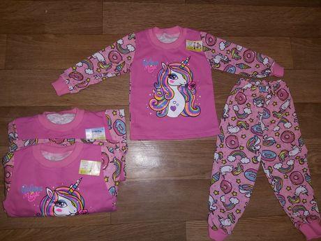 Теплая пижама на байке с единорогами 92 98