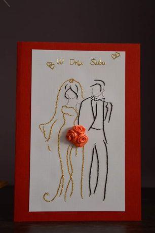 Kartki ślubne ręcznie wyszywane