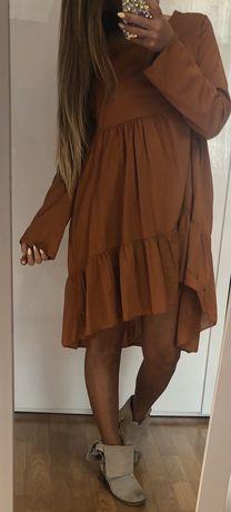 Ruda brązowa sukienka falbany nowa ! Rozmiar uniwersalny !