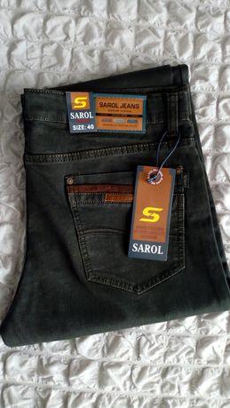 Spodnie męskie Jeans NOWE ciemny brąz r. 40 klasyczny krój Sarol