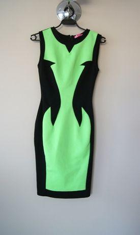 czarna zielona neonowa limonkowa sukienka 36 S prosta elegancka midi