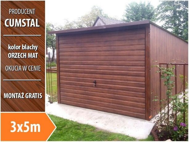 Garaż blaszany drewnopodobny 3x5 z bramą uchylną - Cumstal