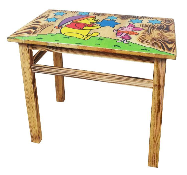 Stolik drewniany, prostokątny, z rysunkiem, dł. 59 cm Chodaczów - image 1