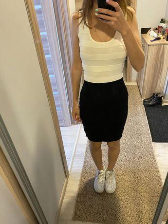 Платье Mango, бело-черное