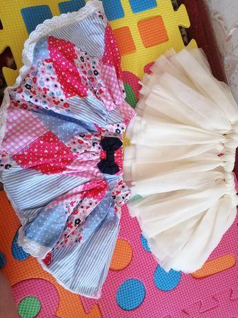 Юбочки и нарядное платье 0- 6 месяцев