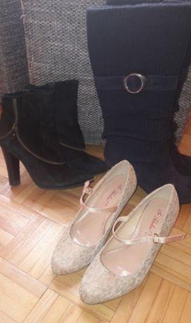 Buty zimowe jesienne zamszowe kozaki botki pantofle 3 pary