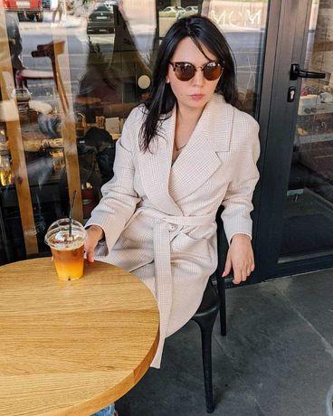 Пальто женское шерстяное. Новое пальто оверсайз с поясом