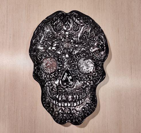 Misa, półmisek, patera, czaszka, steampunk, szkło, halloween