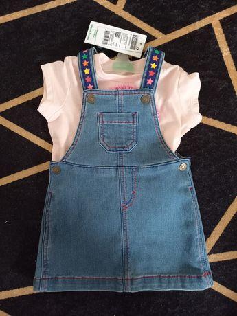 Conjunto novo de saia de peito com t shirt da benetton tamanho 9-12M