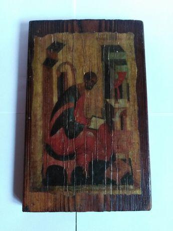Stary obraz na drewnie zabytek antyk staroć wysyłka gratis
