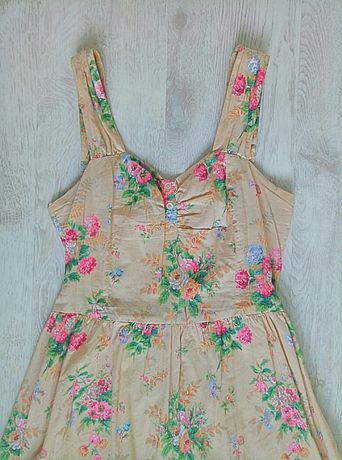Платье Atmosphere бежевое в цветочек сарафан ретро цветы цветочное