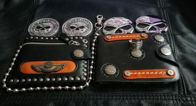 Czaszka skórzany portfel motocyklowy krzyż maltański Harley D chopper
