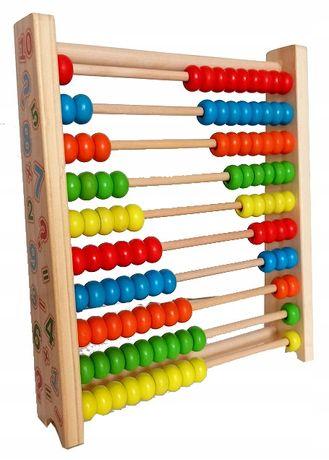 LICZYDŁO edukacyjne, drewniane, kolorowe 10 rzędów