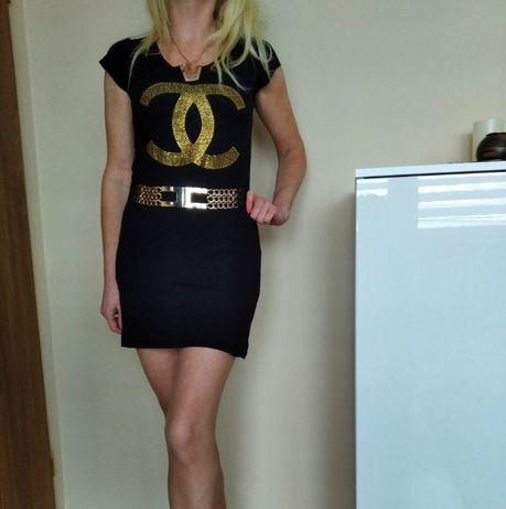 BAJECZNA sukienka damska mini czarna cyrkonie ala CHANEL S M GRATIS W