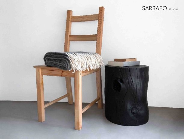 Mesa apoio / banco tronco madeira maciça Shou sugi ban