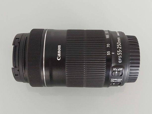Objetiva Canon EF-S 55-250mm f/4-5.6 IS STM+Parasol+Filtro Protetor