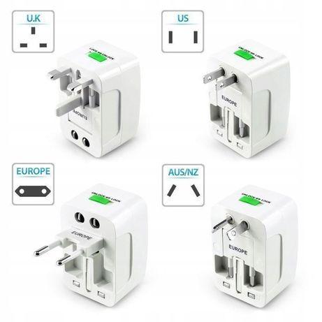NOWY uniwersalny adapter gniazda sieciowy podróżna USB EU UK US AU