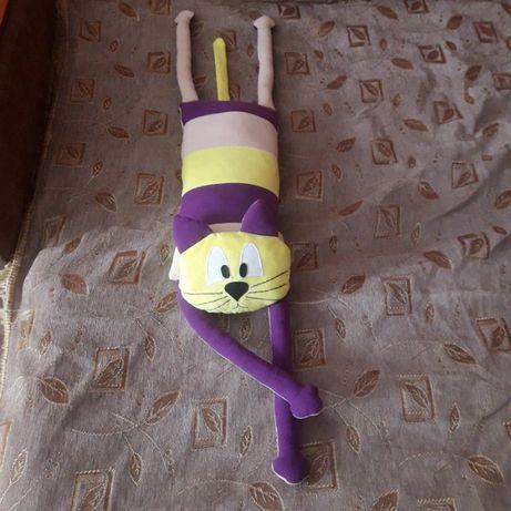 Прикольный кот игрушка-подушка (фиолетово-жёлтый)