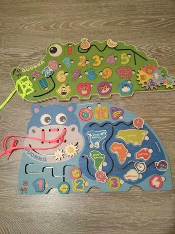 Деревянные игрушки бизиборд Крокодил и Бегемот