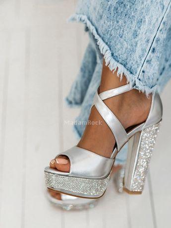 Sandały srebrne cyrkonie 38