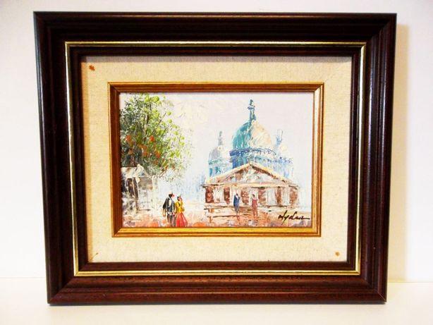 pequena pintura em óleo sobre tela assinada-catedral Sacre Coeur Paris
