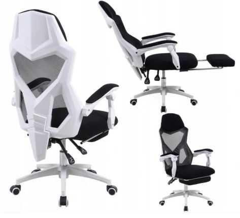 Fotel biurowy OBROTOWY Ergonomiczny podnóżek