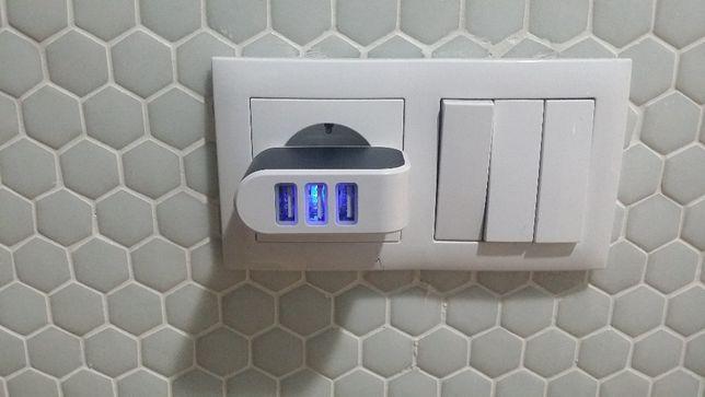 Carregador ficha electrica USB de 3 portas